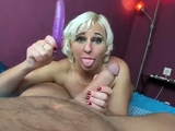 Turned on business blonde does blowjob to stiff cock in pov