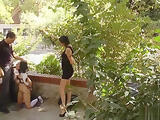 Tied tits brunette banged outdoor