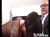 Short haired babe is fucked anally doggy style by an old man