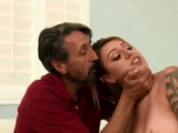 Latina whore submits to rough white sex