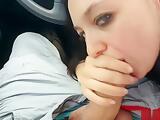 teen sucks and swallow in car on a public parking #exhib public #POV