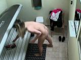 Blonde Girl Caught in Public Solarium
