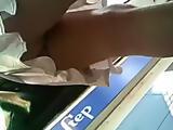 Amazing upskirt voyeur clip scene outside filmed on spycam