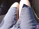Teen Fingering Through Hole in Pantyhose and Sex in the Car