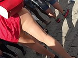 Lady in red dress and nude pantyhose upskirt oopsy