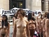 Naked Latina protesters on the street