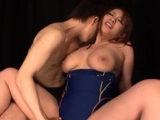 Japanese sweetheart gets cookie licked and large tits sucked