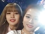 Korean celeb lisa and jisoo face sexy