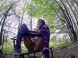 Masturbation in a quiet forest