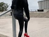 Indian teen shows her ass in leather and high heels