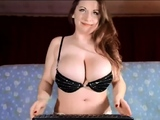 Russian brunette with big boobs in lingerie