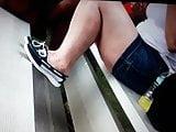 Mrs P candid white legs. Milf
