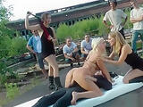 Group anal fucking outdoor