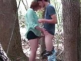 Young BBW teen fucked hard in forest, public sex outdoor