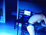 Young couple on Spy night cam at home