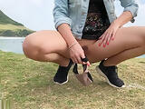 FUN WITH A BLONDE TEEN FINGERING PLUS BLOWJOB ON A PUBLIC BEACH