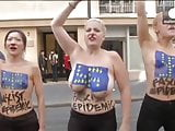 Topless FEMEN protesters in Paris
