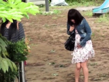 Asian teen pees in park