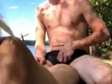 Russian couple resting and fucking on the river