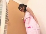 Asian wife is cleaning and giving some good upskirt shots f