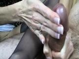 Stockings domina feeds cumshot to fetish guy after fuck