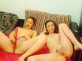 Laurette with a girlfriend posing naked for the camera