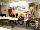 Amateur secretaries in heat at office