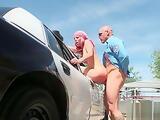 Blonde horny slut banged over the police car