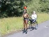 maria ponygirl in trainig outdoor