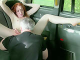 Redhead euro pussylicked in taxi