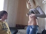 Blonde Escort with Young Boy