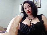 Busty Brunette Blowjob Sex Toy and Smoking with Red Lipstick