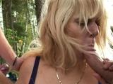 Old blonde grandma outdoor threesome