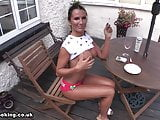 Ania smoking in the backyard