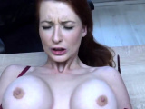 LOAN4K. Redhead with huge hooters has sex for cash