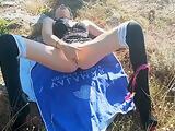 Outdoor masturbation by Kitty
