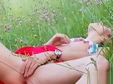 Delicate doll Natasha Shy masturbating shaved cunt outdoor