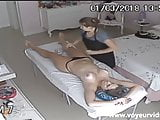 Female masseur on hidden camera