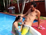 Sexy hot teen babe stockings Swimming In Semen