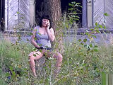 The girl masturbates in a public place. hidden camera
