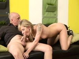 Old vs young threesome Would you pole-dance on my dick?