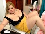 Blonde slut in sexy lingerie sucks hard fat cock