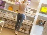 Milf ass in jeans shoe shopping