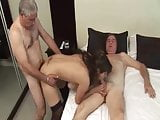 Two Grandparents fucking a beautiful young Brunette