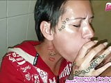 German milf fucks at public toilet with cum facial