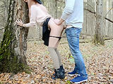 THE CUTE GIRL IN STOCKINGS GOT LOST IN THE FOREST AND WAS FUCKED