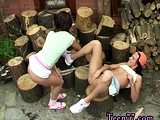 Shaving slave and lesbian bondage tickle Cutting wood and