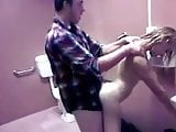 Amateur 3some in Public Toilet