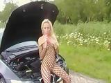 Angela on car