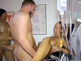 German Teen LouJaxx and Anni Angel Fuck by Doctor in FFM Threesome